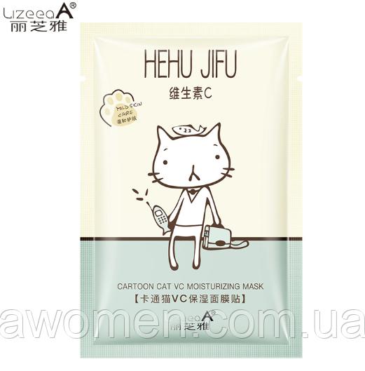 Увлажняющая маска для лица LizeeaA VC Cartoon Cat с витамином С и экстрактом алое 25 g