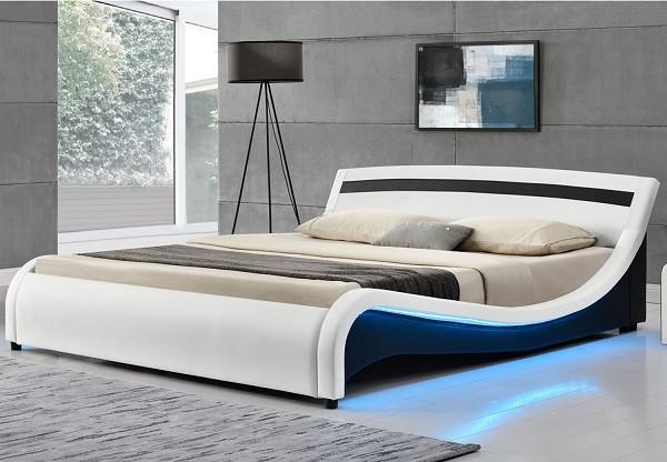 Кожаная кровать на пульт MALA 140х200 см. с LED подсветкой!, фото 1