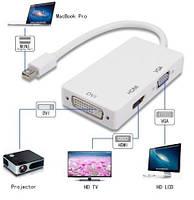 Перехідник-адаптер 3 в 1 Mini Display Port на DVI + VGA + HDMI, фото 1