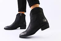 Женские демисезонные ботинки черная матовая кожа