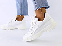 Женские кроссовки белые кожаные, фото 1
