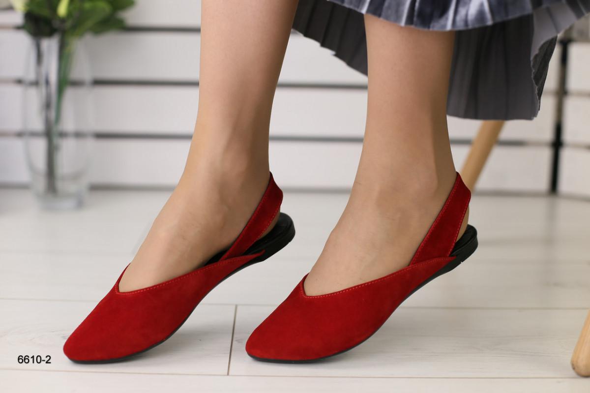 Женские замшевые Красные босоножки