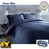 """Комплекты постельного белья Коллекции """"Elite Satin Stripe 8х8 mm Ocean Blue"""". Страйп-Сатин (Турция) Хлопок100%, фото 3"""