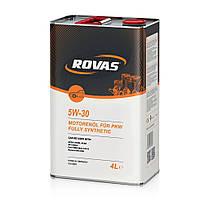 Моторное масло для легковых автомобилей и микроавтобусов синтетика Rovas 5W-30 4л