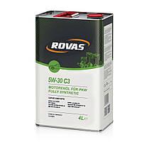 Моторное масло для легковых автомобилей и микроавтобусов синтетика Rovas 5W-30 С3 4л
