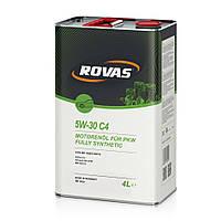 Моторное масло для легковых автомобилей и микроавтобусов синтетика Rovas 5W-30 С4 4л