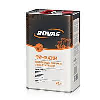 Моторное масло для легковых автомобилей и микроавтобусов полусинтетика Rovas 10W-40 A3/B4 4л