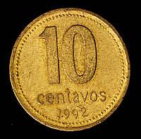 Монета Аргентины 10 сентаво 1992 г.