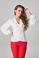 """Женская блуза с длинным рукавом на """"запах"""" Lipar Белая Батал"""