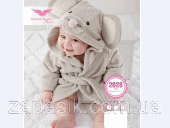 Детский Бамбуковый Халат Bellezza Мышонок С Капюшоном Модель 2028