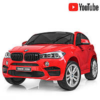 Детский двухместный электромобиль Джип BMW X6 с кожаным сиденьем JJ2168EBLR-3 красный