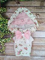 Красивый конверт  для новорожденных Розы,  с кружевом и рюшами, фото 1