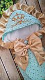 Красивый конверт  для новорожденных Розы,  с кружевом и рюшами, фото 4