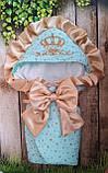 Красивый конверт  для новорожденных Розы,  с кружевом и рюшами, фото 5