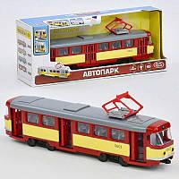 JT Трамвай 9708 D (24) подсветка, звук, открываются двери, инерция, в коробке