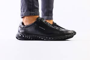 Мужские черные кожаные кроссовки, 43