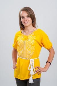 Женская вышитая блуза Волна белым по желтому