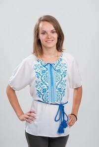 Женская вышитая блуза Волна голубым по белому