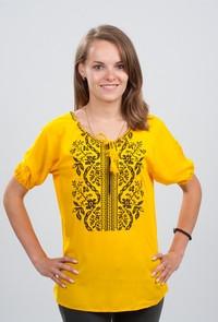 Вышитая женская блуза Волна черным по желтому