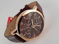 Часы мужские Guardo - Italy, цвет золото, коричневый кожаный ремешок., фото 1