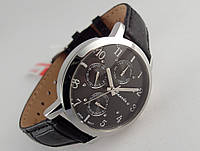 Часы мужские Guardo - Italy, цвет серебро, черный кожаный ремешок, черный циферблат