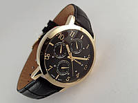 Часы мужские Guardo - Italy, цвет золото, черный кожаный ремешок, черный циферблат, фото 1