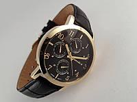 Часы мужские Guardo - Italy, цвет золото, черный кожаный ремешок, черный циферблат