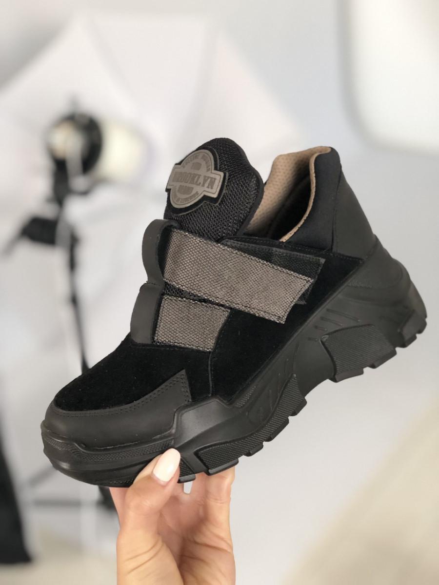 Женские черные замшевые кроссовки на липучках