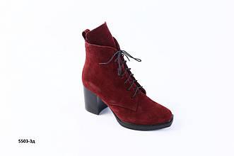 Женские демисезонные замшевые бордовые ботинки на каблуке