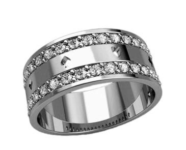 Кольцо  женское серебряное Карты в камнях