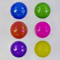 Мяч детский резиновый С 34565 (500) массажный, 55 грамм, d=25 см, 6 цветов
