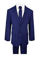 Синий школьный костюм пятёрка с тонким галстуком