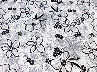 Поплин - стрейч Цветы (черный на белом) (арт. 04133) отрез 0,73