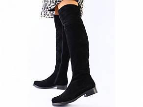 Женские зимние черные замшевые ботфорты 41