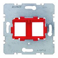 Опорная пластина для модульных разъёмов с красной вставкой 2-х постовая Berker (454101)
