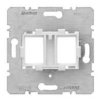 Опорная пластина для модульных разъёмов с белой вставкой 2-х постовая Berker (454105)