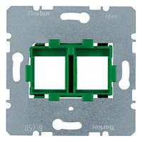 Опорная пластина для модульных разъёмов с зелёной вставкой 2-х постовая Berker (454104)