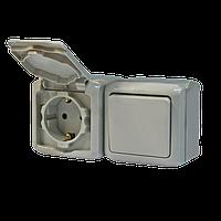 Выключатель + розетка 2К+З со шторками IP44 серый Legrand Quteo (782348)