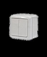 Выключатель 2-клавишный IP44 10A белый Legrand Quteo (782302)