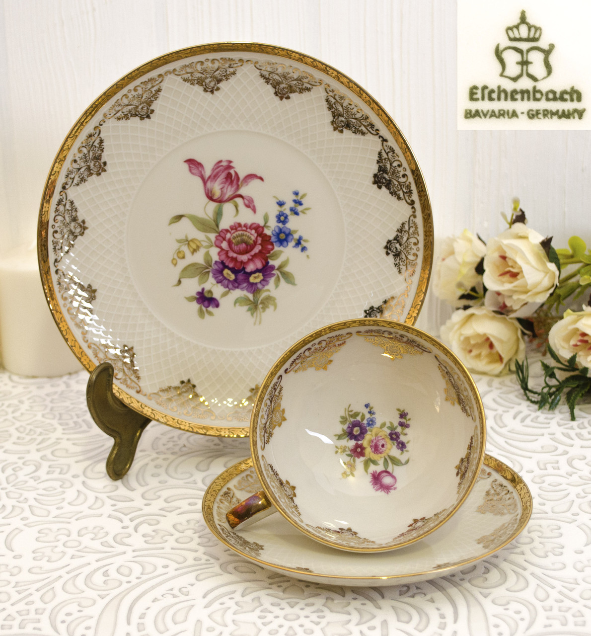 Старая фарфоровая чайная тройка, чашка, блюдце, тарелка, Eschenbach Porcelain, Германия, фарфор