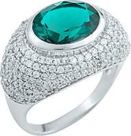 Серебряное кольцо SilverBreeze Серебряное кольцо SilverBreeze с изумрудом nano (1903407) 18 размер SKU_1903407-18