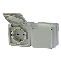 Розетка 2X2К+З со шторками IP44 серый Legrand Quteo (782353)