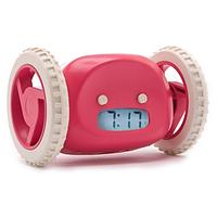 🔝 Убегающий будильник с часами Clocky, цвет - Розовый