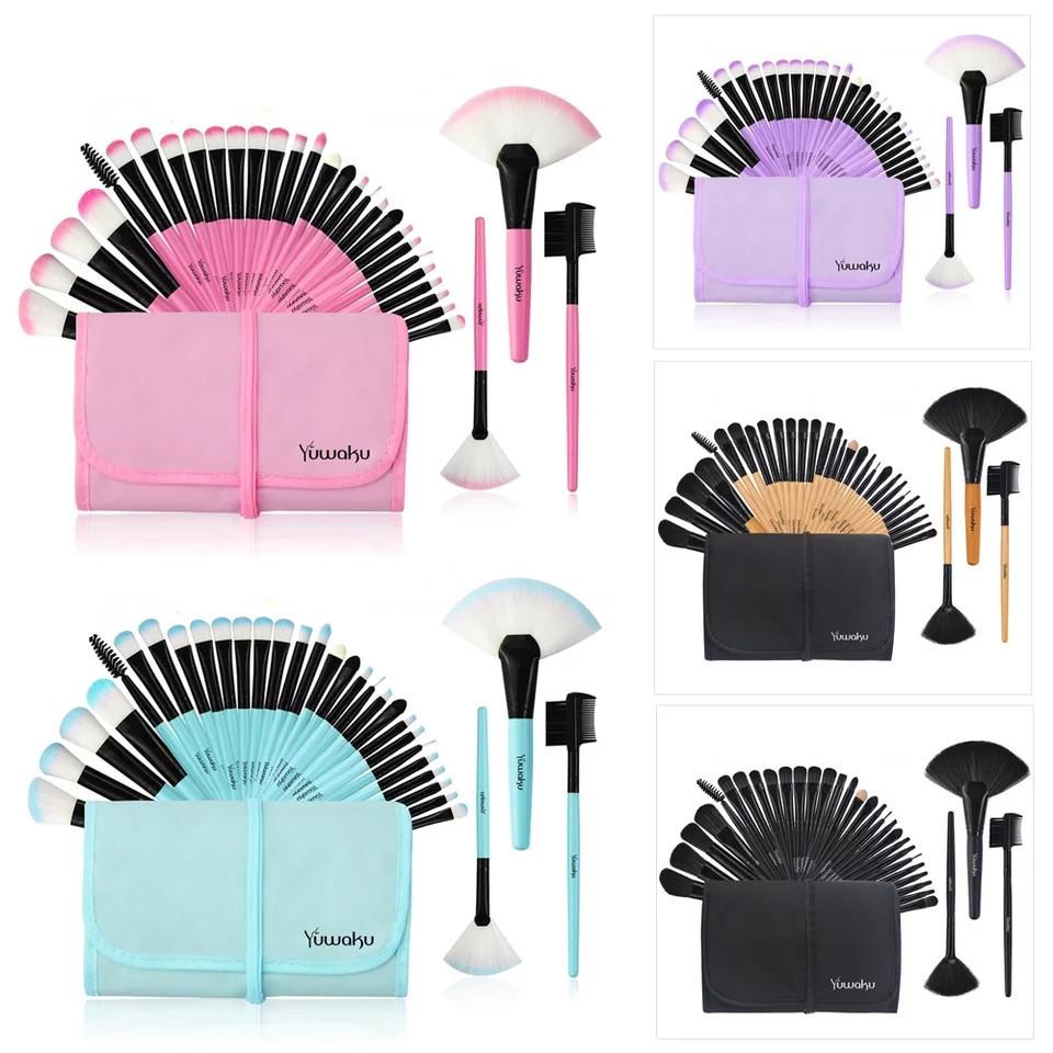 Набор кисточек для макияжа из 32 шт с чехлом, фиолетовые. - фото 3
