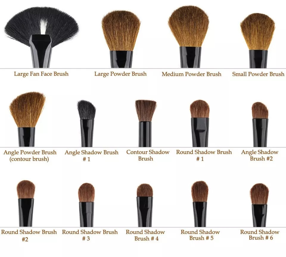Набор кисточек для макияжа из 32 шт с чехлом, фиолетовые. - фото 4