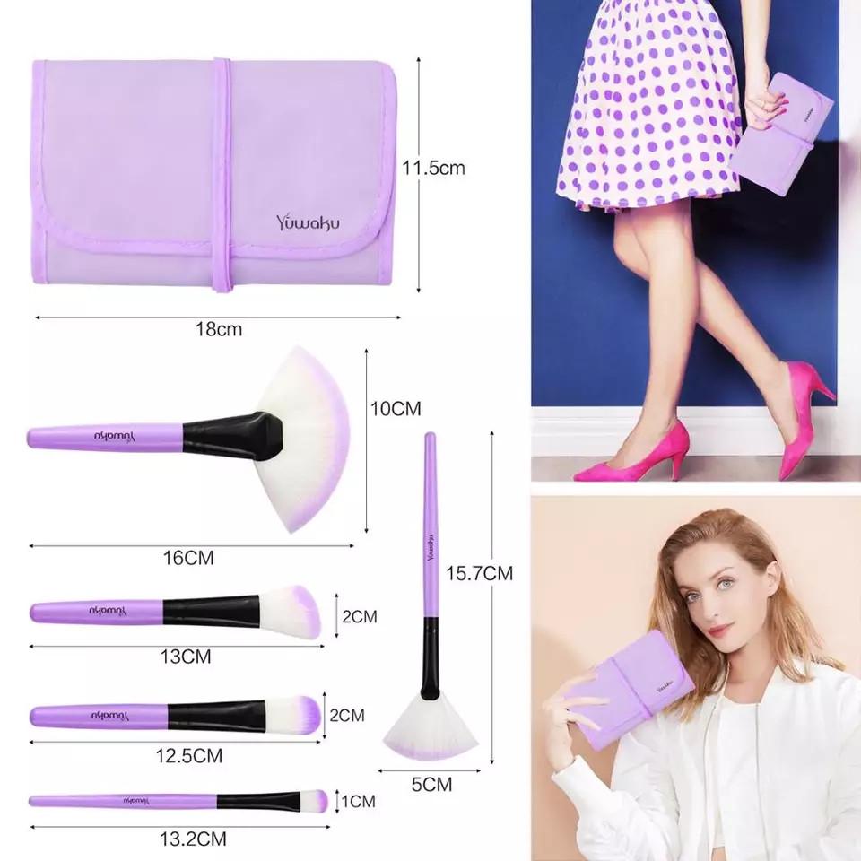 Набор кисточек для макияжа из 32 шт с чехлом, фиолетовые. - фото 6