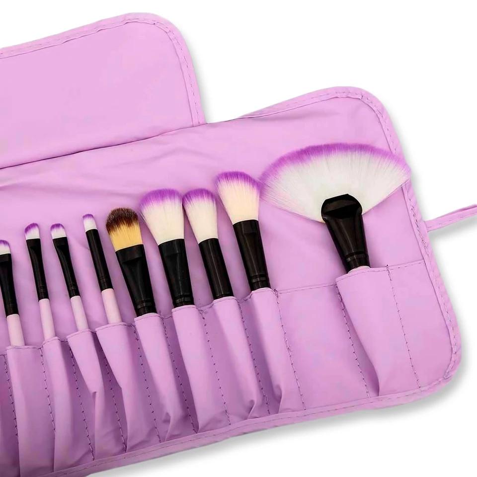 Набор кисточек для макияжа из 32 шт с чехлом, фиолетовые. - фото 5