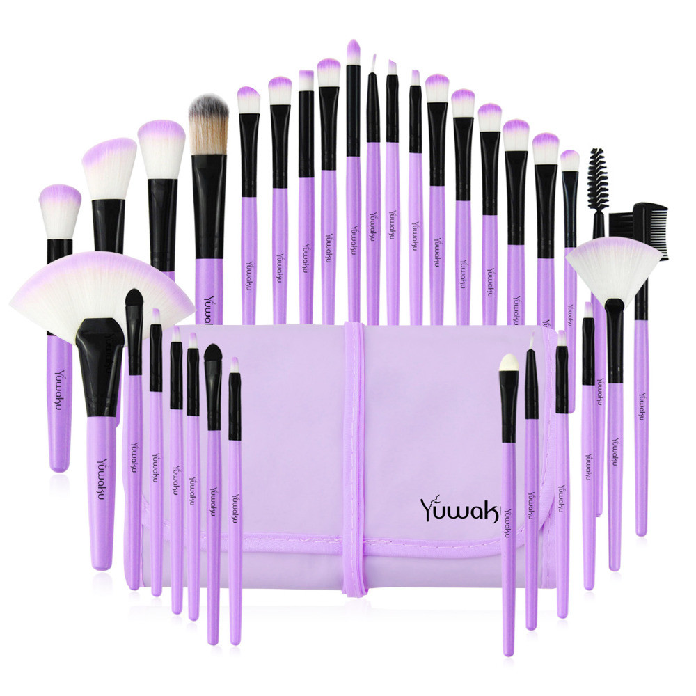 Набор кисточек для макияжа из 32 шт с чехлом, фиолетовые. - фото 8