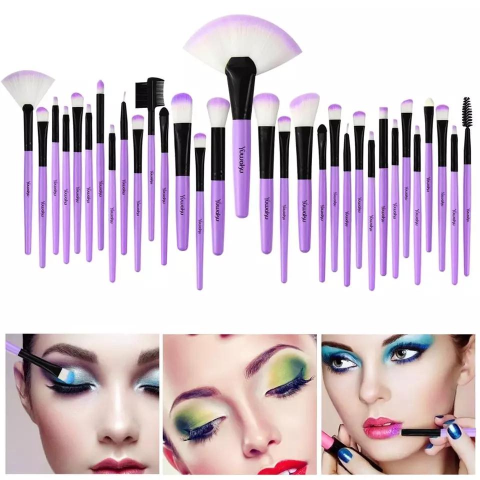 Набор кисточек для макияжа из 32 шт с чехлом, фиолетовые. - фото 9