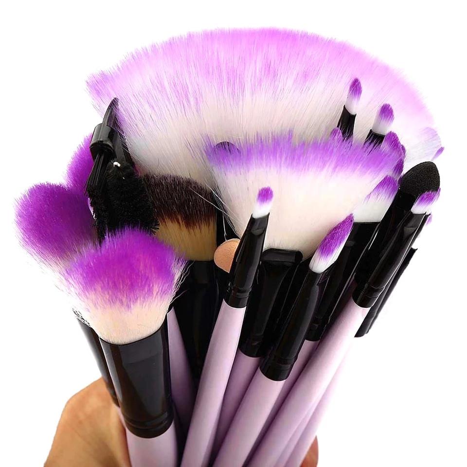 Набор кисточек для макияжа из 32 шт с чехлом, фиолетовые. - фото 2